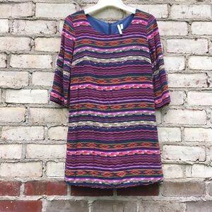 Tribal Shift Dress Multicolored Boho Small